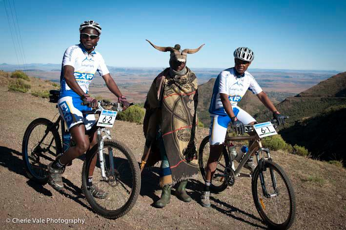 Riders with horned shepard in Lesotho