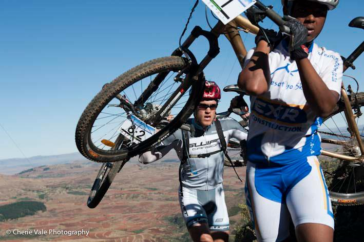 Lesotho Sky riders porting bikes